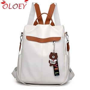Image 1 - 2020 nouvelle marque concepteur en cuir dames sac à dos sauvage qualité anti vol sac dames adolescent dames voyage sac de luxe sac à dos Mochil