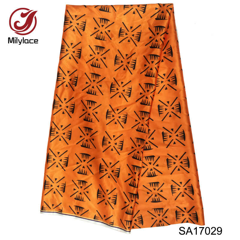 2020 African Wax Prints Fabric Nigerian Satin Wax Fabrics High Quality 5 Yards Per Lot High Quality Imitate Slik Fabric SA17029