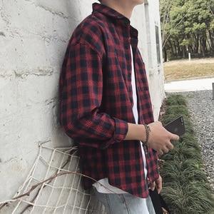 Image 3 - New Cotton Korean Style Clothe Fashion Streetwear Spring Summer Autumn Slim Fit Plaid Men Shirt Long Sleeve S 3XL