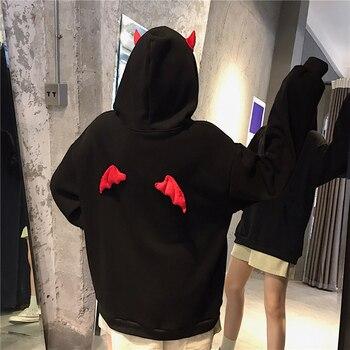 Devil Horn Hoodie Streetwear Devil Hoodie Gothic Hooded Hoody Women Loose Black Hooded Pollovers Sweatshirts Oversized Harajuku 2