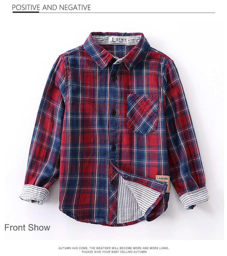 GFMY 2020 New Spring 100% Soft Cotton Full Sleeve Fashion Plaid Boy Shirt  4-14 year Three color options Children's Tops