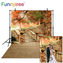 купить Funnytree background backdrops autumn tree vintage stairs outdoor photography photocall photophone vinyl fond photo studio дешево