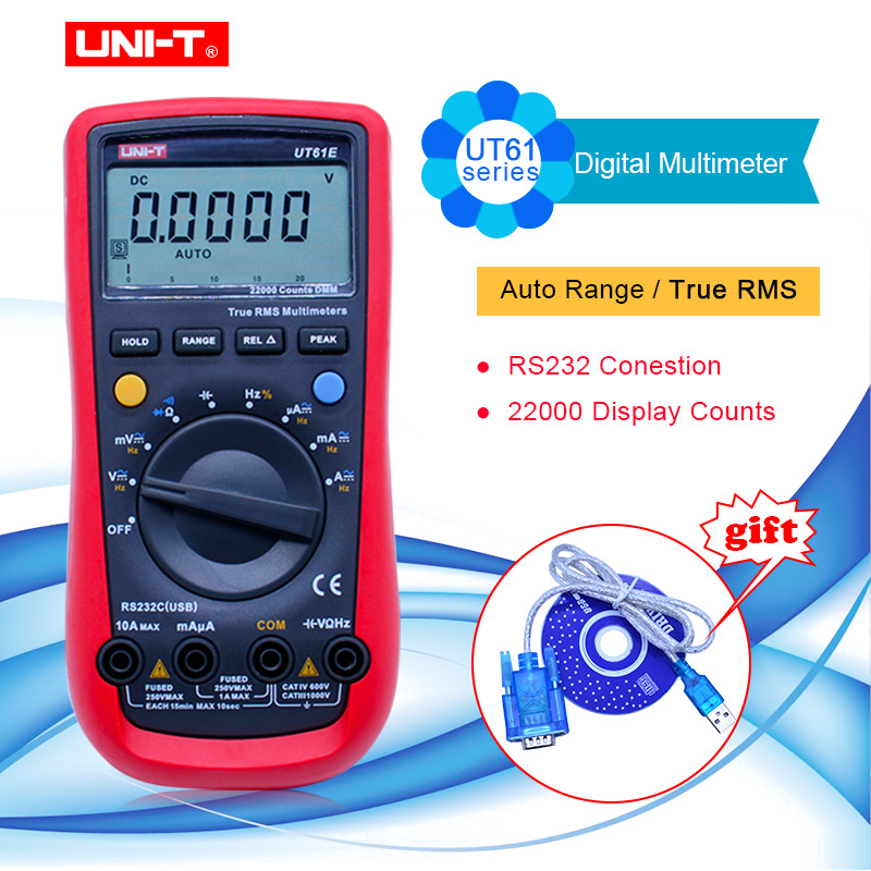 UNI T UT61A/ UT61B/UT6C/UT6D/UT6E digital multimeter auto range multimetro PC Connect AC DC Voltmeter Ammeter tester+RS232 USB-in Multimeters from Tools    1