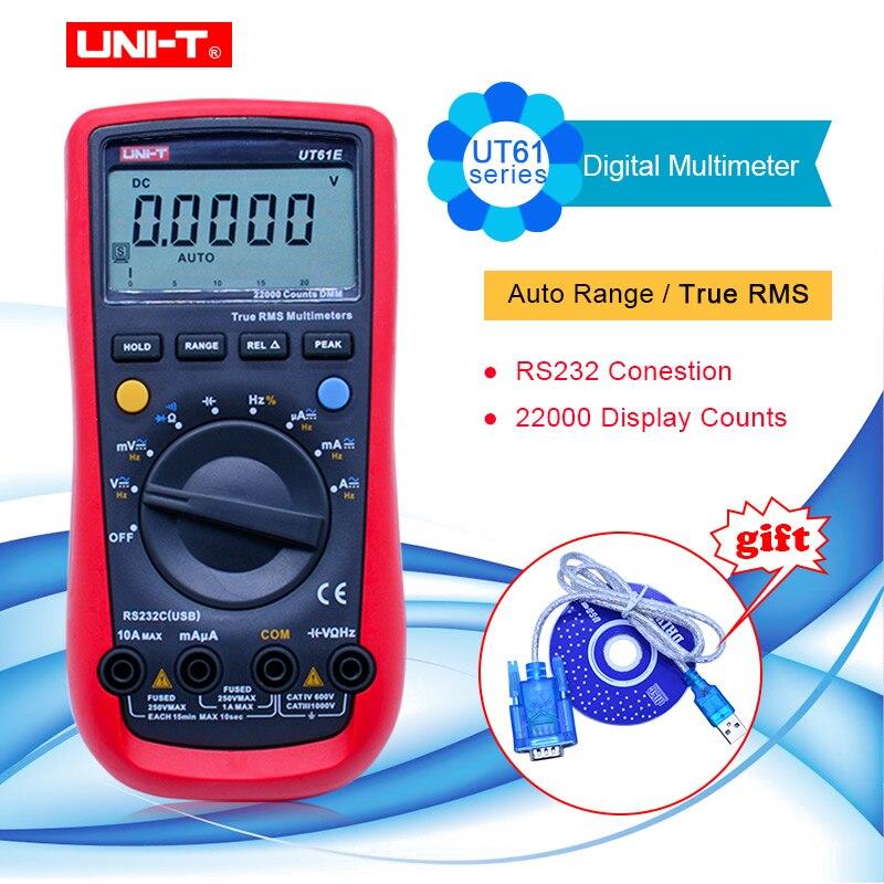 UNI T UT61A/UT61B/UT6C/UT6D/UT6E Цифровой мультиметр автоматический диапазон multimetro PC подключение AC DC Вольтметр Амперметр тестер + RS232 USB
