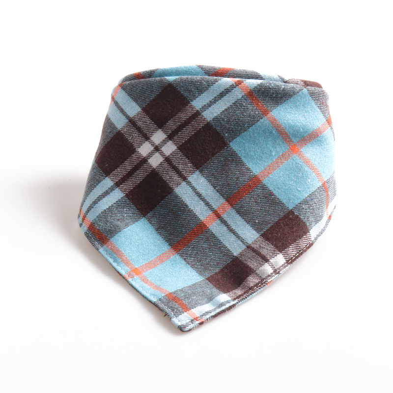 Amin Lattice New Products Pet Collar Plaid Bandage Cloth Triangular Binder Bibs Double Layer Thick Cotton Cloth Dog Scarf