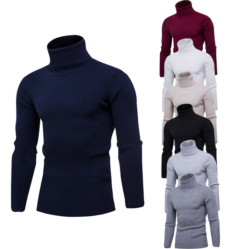 Men's Turtleneck Sweaters Autumn Winter High Quality Warm Knit Christmas Sweater Top Casual Long Sleeve Homme Male Pullover Tops