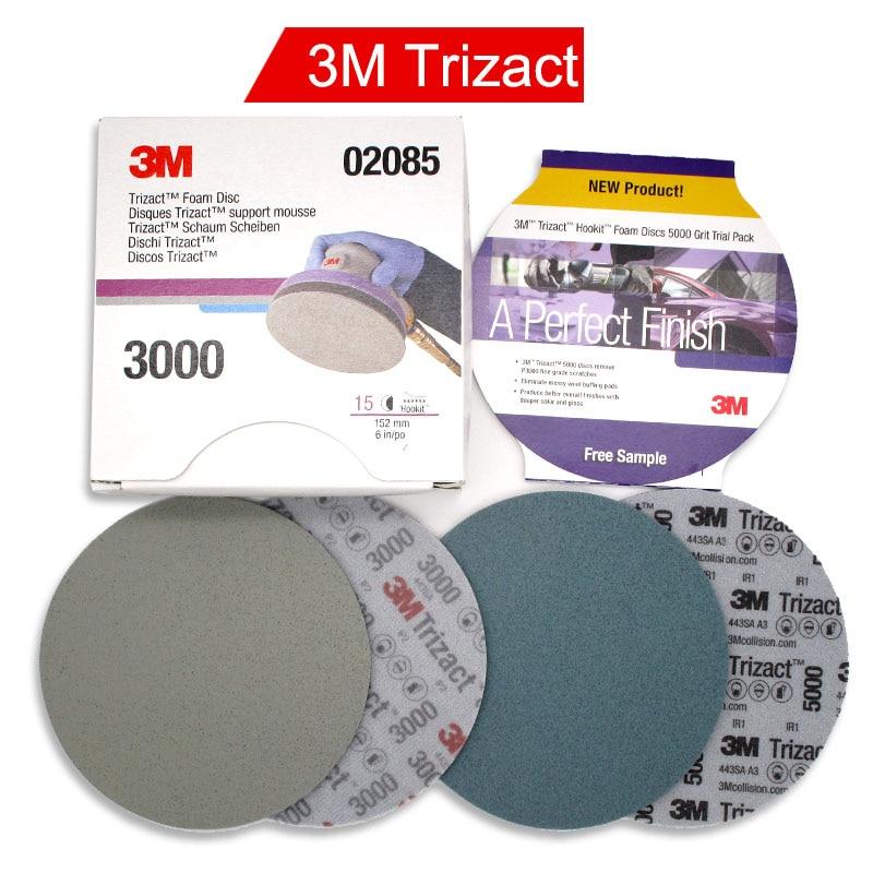 3M Trizact 02085 Pyramid Back Velvet Disc Sandpaper 30662 Precision Grinding Paint Surface Polishing 3000-5000 Grit 6 Inch 152mm