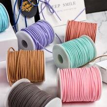 5 m/lot 3 mm płaskie Faux Suede pleciony przewód koreański aksamitna skóra ręcznie nici ciąg liny dla DIY tworzenia biżuterii dostaw
