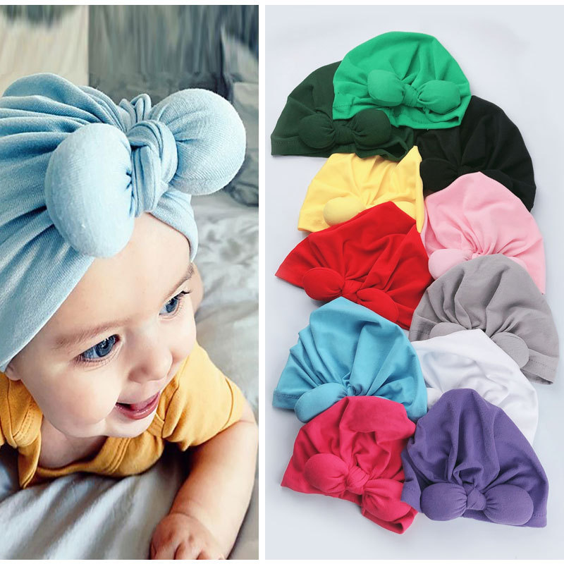 Baby Headband Newborn Girl Headbands For Girls Turban Baby Stretchy Beanie Baby Bows Headband Cotton Hair Accessories 2020 New