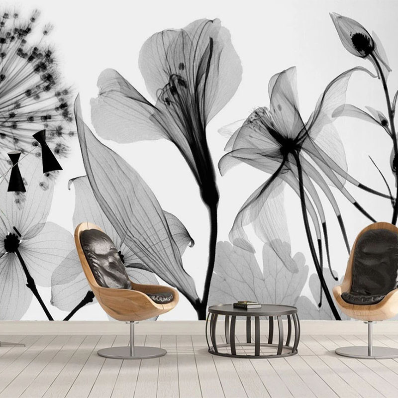 Modern Hand Painted Black And White Dandelion Flowers Mural Wallpaper 3D Abstract Art Wall Painting Living Room Papel De Parede