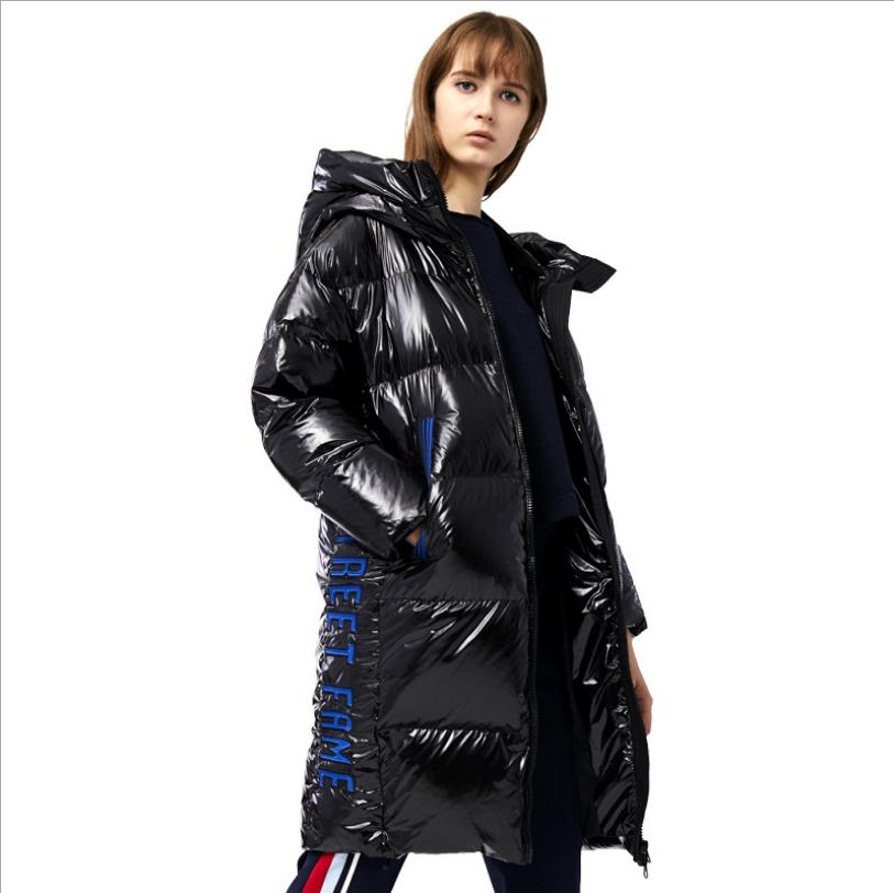 oversize glossy fabric   down     coat   winter thicker warm hooded duck   down     coat   female embrodiery fashion longer   down   outerwear F113