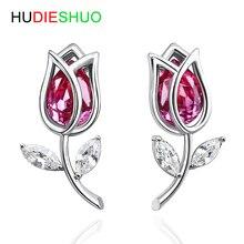 2020 New Fashion Rose Flower Crystal Lady Earrings 925 SterlingSilver Earrings for women