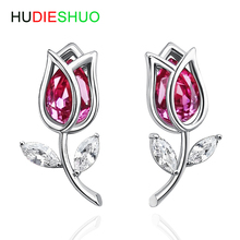 HUDIESHUO 925 Sterling Silver rose red Crystal Stud Earrings for Women Girl Cute Silver CZ Jewelry Party Gift Rose Earrings