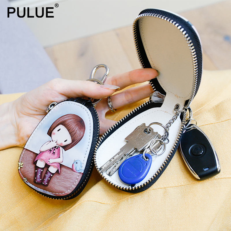 Fashion Cartoon Women Key Bag Girl Students Leather Key Wallets Key Case For Car Key Chains Cover New Lovely Zipper Key Holder