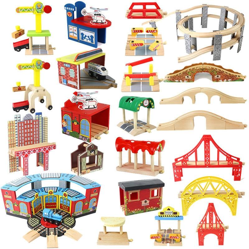 Детский трек из бука, деревянная железная дорога, мост, туннель, крест, совместим со всеми брендами, развивающие игрушки