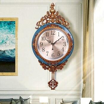 Vintage Luxury Large Wall Clock Pendulum Creative Living Room Large Retro Clocks Wall Orologio Da Parete Home Decoration KK60WC
