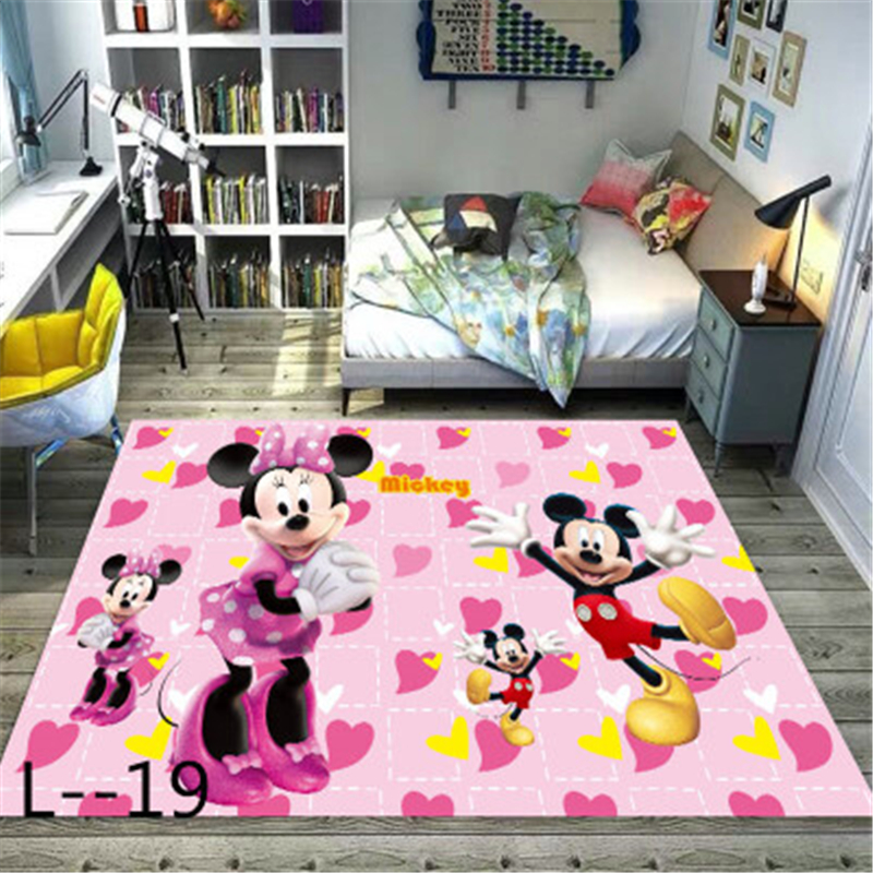 Minnie Mickey Mouse Playmat Carpet Kids Rugs  Bedroom  Door Mat Wood Board Print Carpets Kitchen For Living Room  Playmat Gift