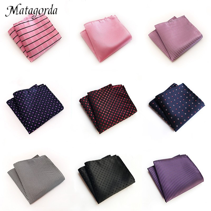 Top Grade Silk Hanky For Man Pink Black Grid Dot Striped Men Square Pocket Handkerchief Wedding Party Business Suit Accessory