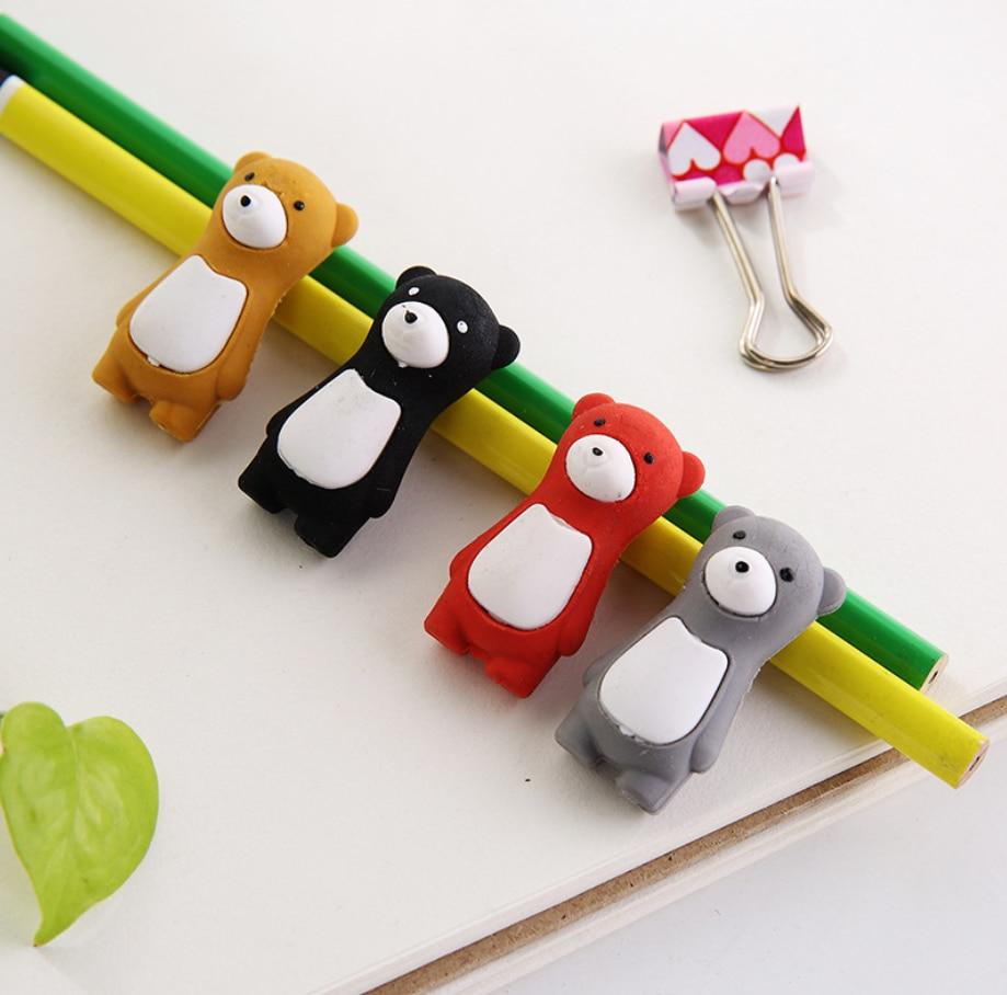 2pcs Polar Bear Rubber Pencil Eraser Stationary School Supplies Items Kawaii Office Creative Cartoon Kids Gift Students Prizes