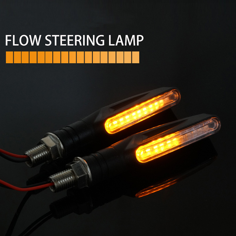 2/4Pcs IP68 Bendable Motorcycle Flashing Lights 12 LED Mini Motorcycle Motorbike Turn Signal Lights Indicators Amber Lamp
