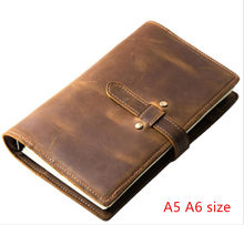 leather A5 rings binder Planner pocket 2021 Leather Agenda Planner accessories with zipper leather Notebook cover