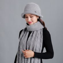 New Women Winter Mother Cap And Scarf Set For Rabbit Fur Hat Scarves Knitted Bucket Hats Grandma Gift