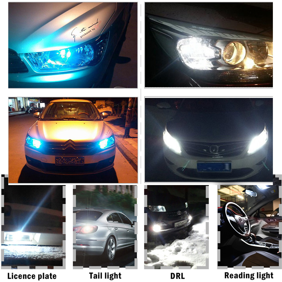 10x 2021 Newest W5W Led T10 Car Light COB Glass 6000K White Auto Automobiles License Plate Lamp Dome Read DRL Bulb Style 12V 6