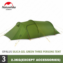 Naturehike Outdoor Opalus 15D/ 20D/40D Camping Tent 3-4 People Ultralight Tunnel Tent Waterproof Portable 4 Seasons Camping Tent