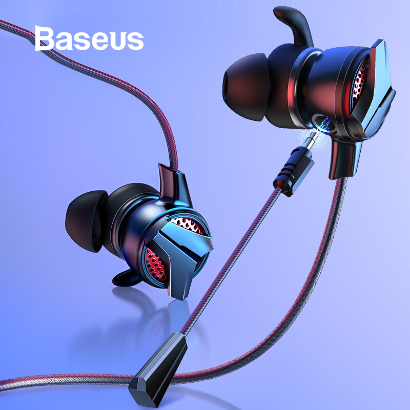 Baseus Gaming Earphone For Pubg Controller GAMO-15 3D Stereo Earphones For Mobile Pubg Gamer With Detachable HD Mic
