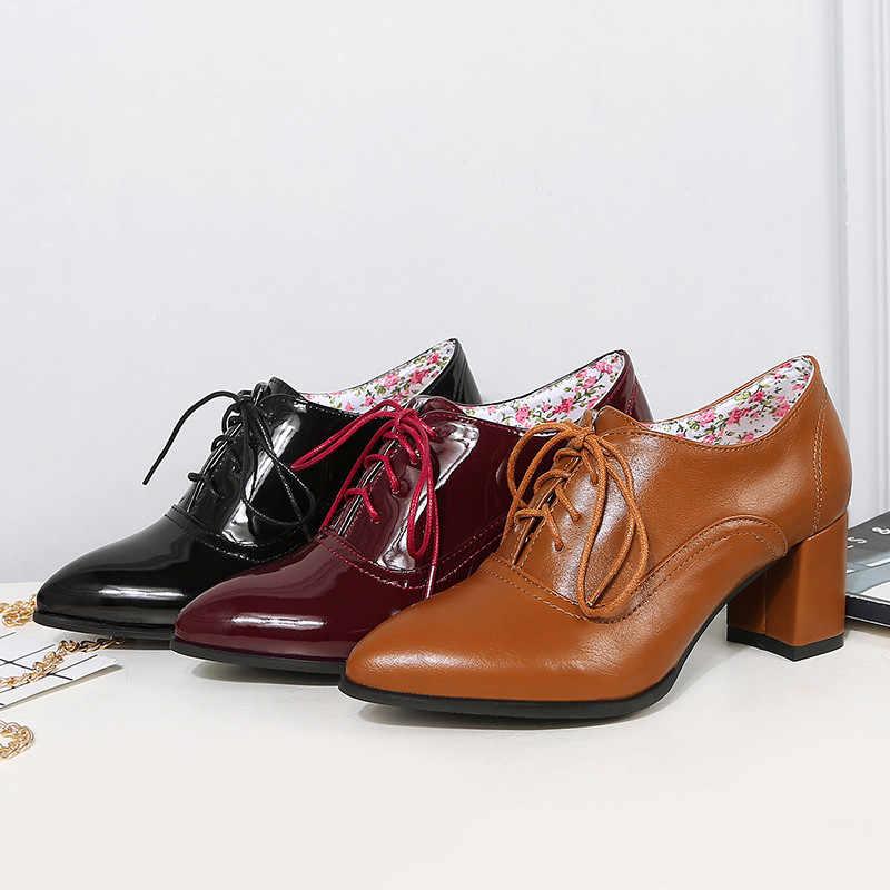 Chaussures femme cuir verni bout pointu et talon haut bloc OL Style Cour Chaussures Taille 4-11