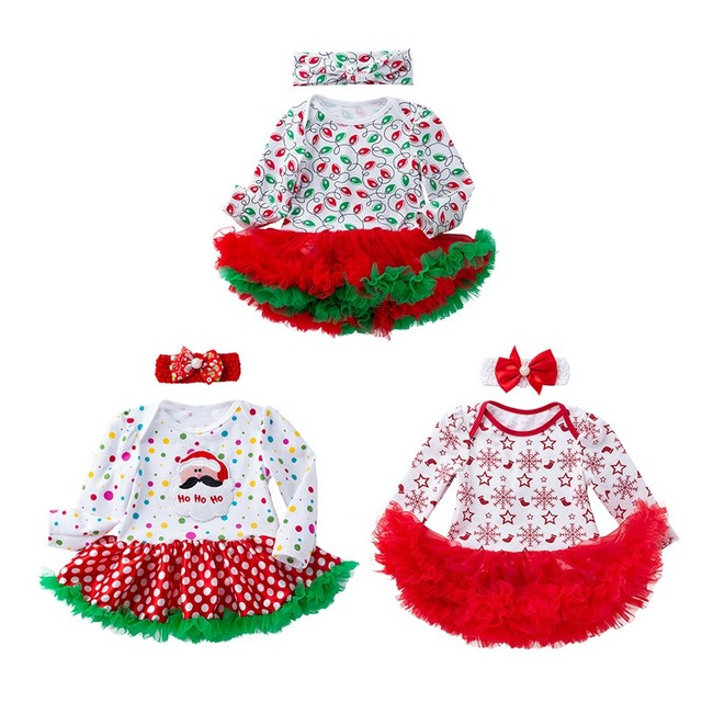 2Pcs Cute Baby Girl Long Sleeve Christmas Theme Pattern Romper Dress+Headband Skirt Outfits Christmas Costume New