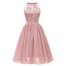 Vintage vestido de fiesta de noche mujeres boda Floral encaje escote Formal elegante vestido sólido hueco princesa niña ropa Vestidos