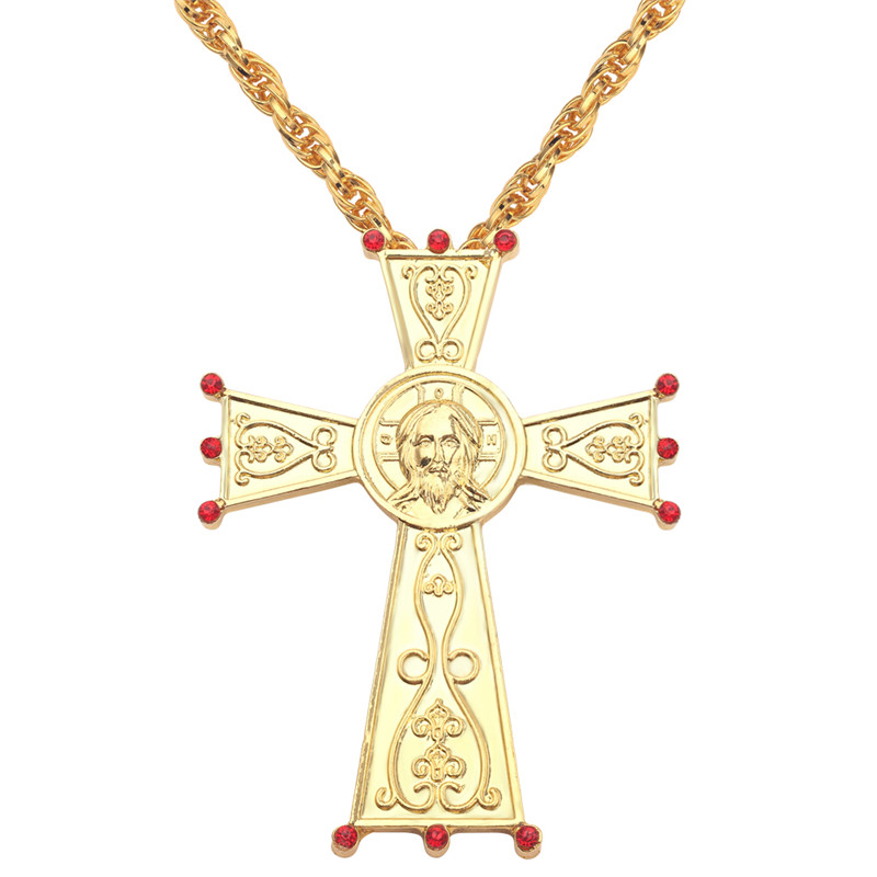 Hip Hop Gold Color Necklace Catholic Jesus Cross Pendant Necklace Metal Crafts Religious Icon Orthodox Baptism Pious Faith Gifts