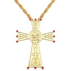 Hip-hopowy złoty kolorowy naszyjnik katolicki wisiorek z ukrzyżowanym jezusem naszyjnik metalowe rzemiosła ikona religijna prawosławny chrzest pobożny wiara prezenty