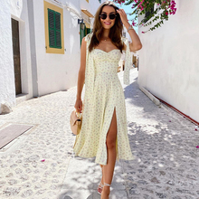 NewAsia Yellow Print Dress Women Summer Sleeveless Tie Up Bow Strap Elegant Midi Dresses Casual Sexy Side Split Floral Dress
