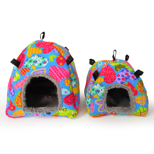 Color Random Warm Cotton Tent Shape Small Pet Squirrel Parrot Sugar Glider Hanging Cage Hamster Cage Bed House Hedgehog Nest Toy 4
