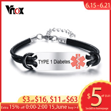 Vnox TYPE 1 Diabetes Disease Name Bracelet for Men Women  Free Engraving Customized Medical Alert ID Bracelets