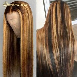 13*6 parte profunda do laço frente peruca de cabelo humano em linha reta destaque cor do cabelo pré arrancado linha cabelo descorado nós cabelo remy brasileiro