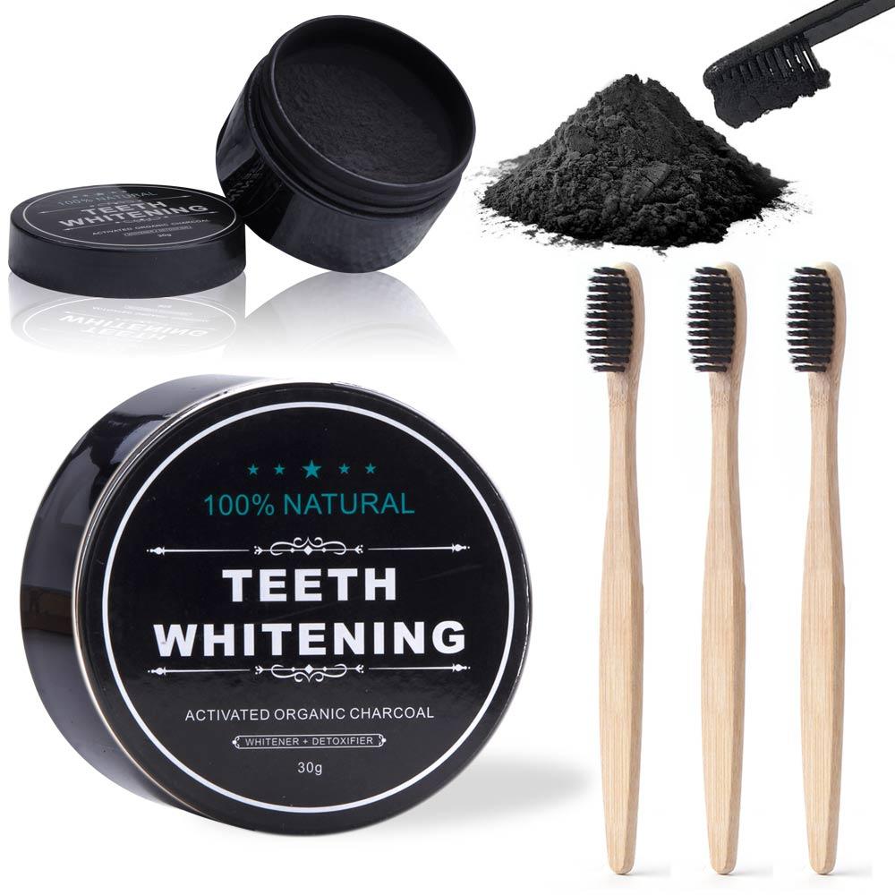 Натуральный уголь Отбеливание зубов порошок с 3 шт. зубная щетка бамбук активированный уголь отбеливание стоматологический уголь гигиена п...