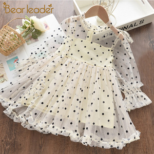 Bear Leader Girls Dress Autumn 2020 Girls Clothes Long Sleeves Cartoon Embroidery Female Children's Cake Dresses Kids Clothing