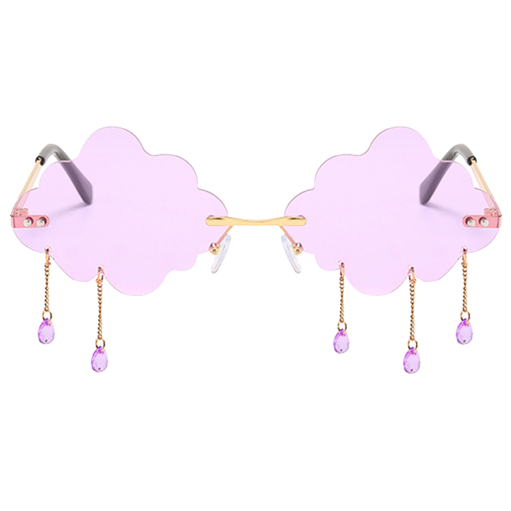 Cloud Rimless Sunglasses Transparent Candy Color Tinted Eyewear withTeardrop Pendant for Women