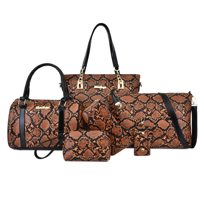 2019 New Style Korean-style Fashion Different Size Bags Six Pieces Set Fashion Snakeskin Printed Large-Volume Crossbody Bag