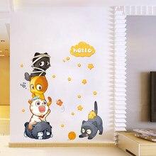 Gato dos desenhos animados diy & mural & quarto & porta & refrigera decoração de casa removível vara de parede decoração de casa bebê berçário criança animais arte mural