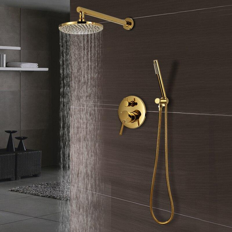 Luxus Goldene Messing Dusche Set Moderne Wand-Montiert Decke Dusche System Home Hotel Bad Wasser Sparende Wasserhahn Dusche