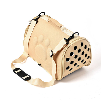 Collapsible Pet Carrier Bag with Wide Straps for Transportation of Small Dogs and Cats Safely