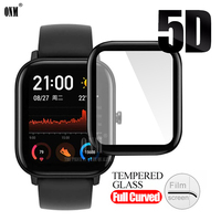 5D Full Coverage Screen Protector film for Huami Amazfit GTS Watch Soft Round Screen Protector Cover Accessories (Not Glass)