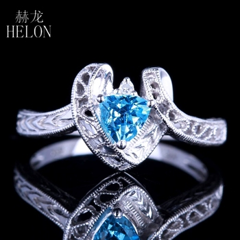 HELON Real 10K White Gold 5mm Trillion 1ct Genuine Natural Blue Topaz Engagement Wedding Ring Women Vintage Antique Deco Jewelry image
