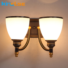 Retro Antique Chinese Indoor Wall Lights Stair Aisle Glass Wall Lamp Restaurant Hotel Bedroom Wall Sconce Vintage Light Fixture retro chinese wall lamp wall sconce antique wood parchme stair aisle corridor bedroom living room cafe lamp e27 wall light bra
