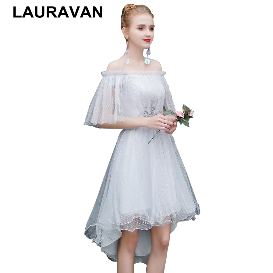 Real Sample Elegant Special Occasion Modest Off Shoulder High Low Dresses Tulle Dress Bridesmaid Party Short Formal Dress