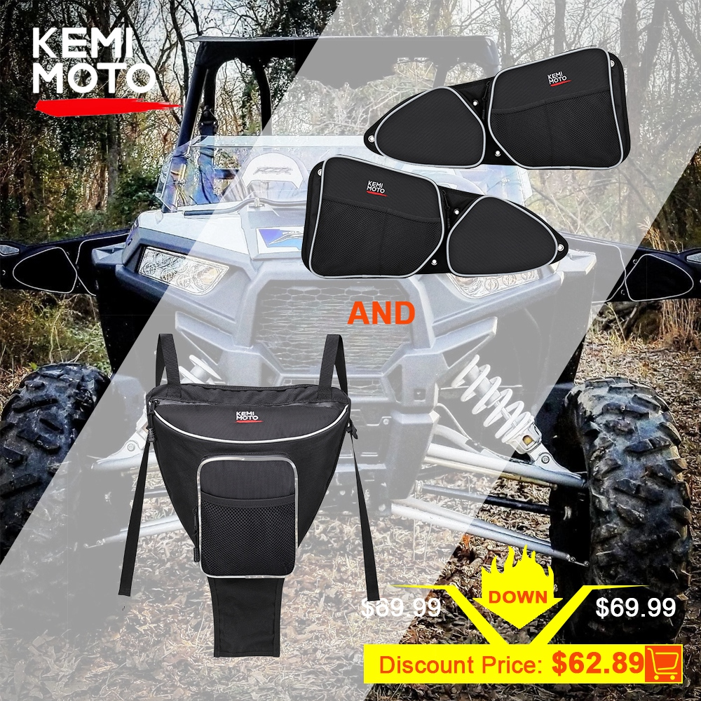 KEMIMOTO UTV Cab Pack Holder Storage Bag + Side Storage Door Bag Knee Protection For Polaris RZR XP 1000 900 2014-2017 2015 2016